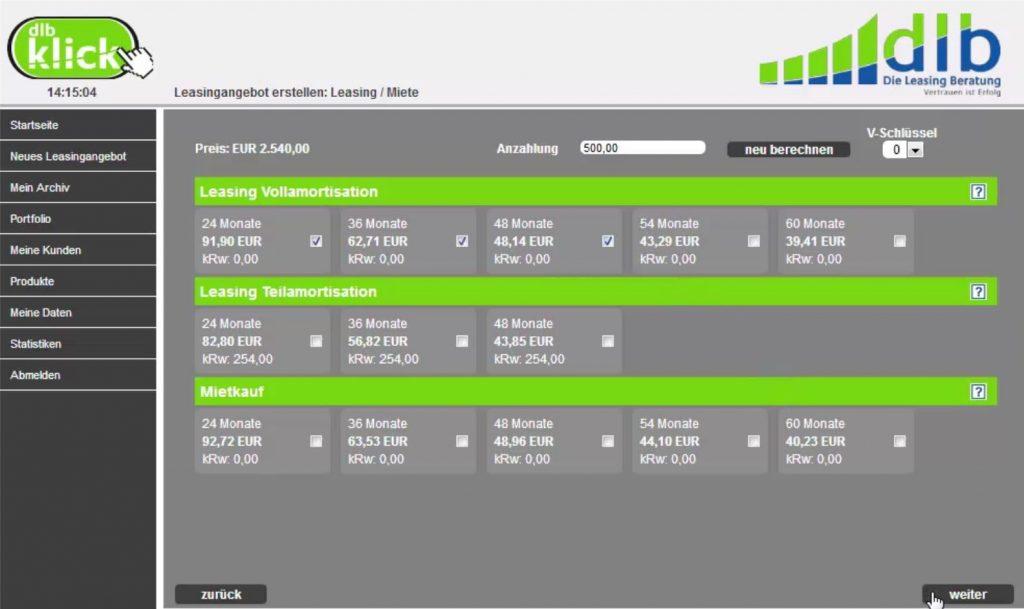 Eine Übersicht mit Leasingangeboten in dem Online Portal dlb Klick