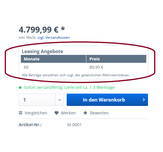 Auschnitt aus einem Onlineshop mit Bezahloption Leasing